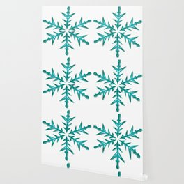 Minimalistic Aquamarine Snowflake Wallpaper