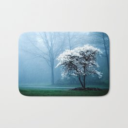 Early Morning Foggy Tree Bath Mat
