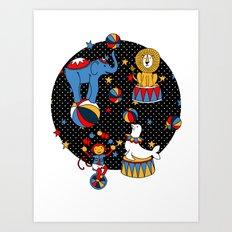Little Circus Stars on Black Art Print