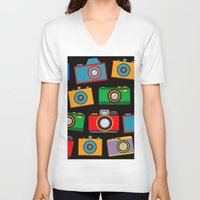 cameras V-neck T-shirts featuring colourful cameras by vitamin