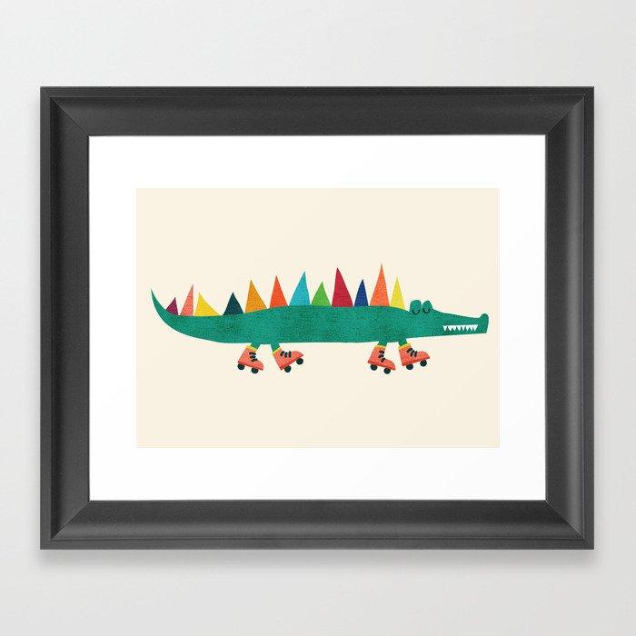 Crocodile on Roller Skates Gerahmter Kunstdruck