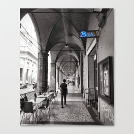 Black and white Bologna Street Photography Canvas Print
