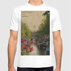 Amsterdam mon amour MEDIUM Mens Fitted Tee White