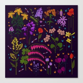 Flowers and insects Canvas Print