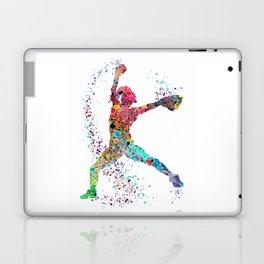 Baseball Softball Pitcher Watercolor Print Art Print Girl's Softball Painting Laptop & iPad Skin