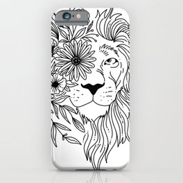 Lion head sketch with flowers in his mane iPhone Case