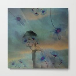 Woman hidden in a world of flowers Metal Print