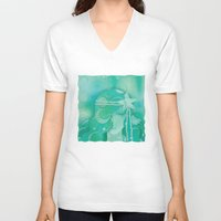 mermaid V-neck T-shirts featuring Ocean Queen by Graphic Tabby