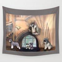 schnauzer Wall Tapestries featuring Schnauzer by Michelle Behar