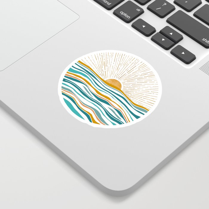 The Sun and The Sea - Gold and Teal Sticker