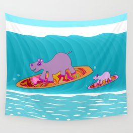 Just Like Momma - Hippos Surfing Wall Tapestry