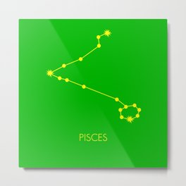 PISCES (YELLOW-GREEN STAR SIGN) Metal Print
