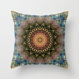 Glitch Mandala Oasis Throw Pillow