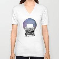typewriter V-neck T-shirts featuring Typewriter by Rebecca Joy - Joy Art and Design