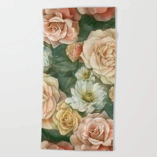 Floral rose pattern Beach Towel