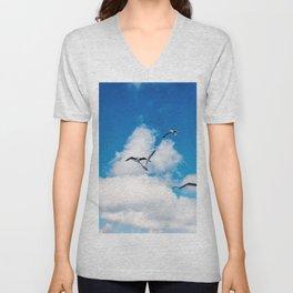 Seagulls against blue sky | Travel Photography France, Corsica | Fine art photo print Unisex V-Neck