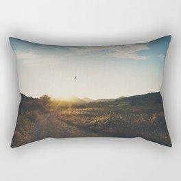 A bird in flight & a vineyard at sunset Rectangular Pillow