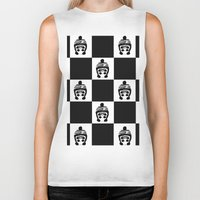 chess Biker Tanks featuring Panda Chess by Panda Cool