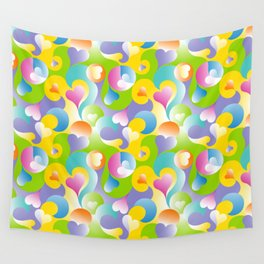 Swirling Hearts in Pastels Wall Tapestry