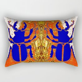 Lapis Blue Beetle on Gold Rectangular Pillow