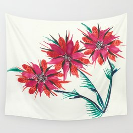 3 Red Flowers Wall Tapestry