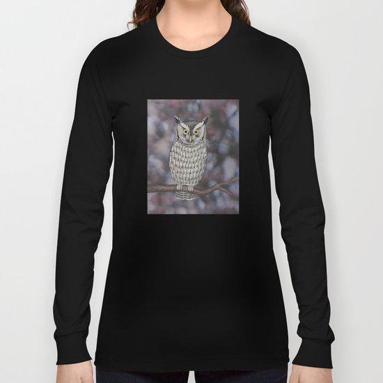 eastern screech owl on a branch Long Sleeve T-shirt