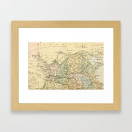 Vintage Map of The North Of China Framed Art Print