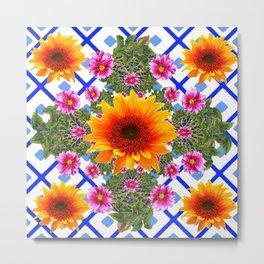 Blue-white Green Sunflowers Dahlias Art Design Pattern Metal Print