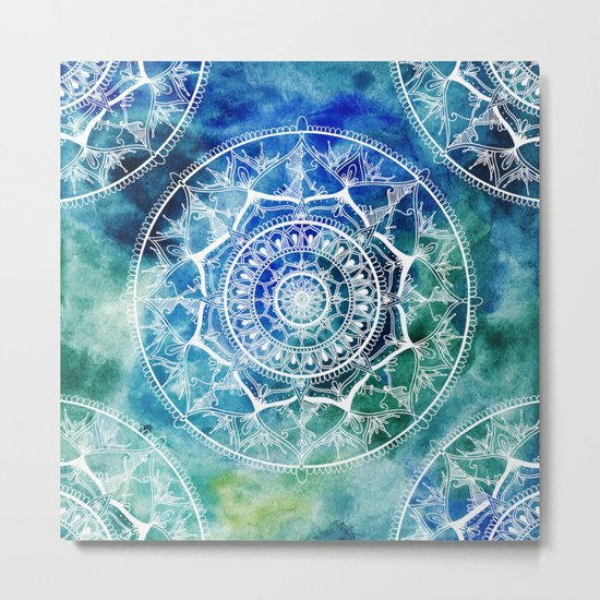 White Circle Mandala on Blue Watercolour Metal Print