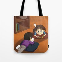 reading Tote Bags featuring Reading by Ana  La Bella Carapinheiro