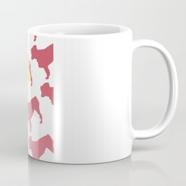 Australian Shepherd with Pink/Yellow Silhouettes Coffee Mug