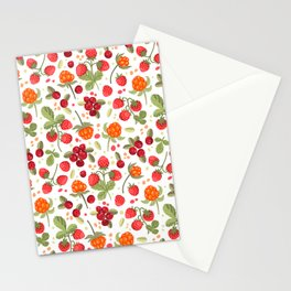 Vector pattern cranberries, strawberries, cloudberries Stationery Cards