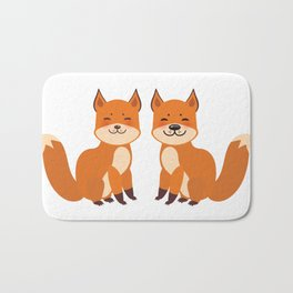 cute fox, boy and girl with funny face and fluffy tails on white background Bath Mat
