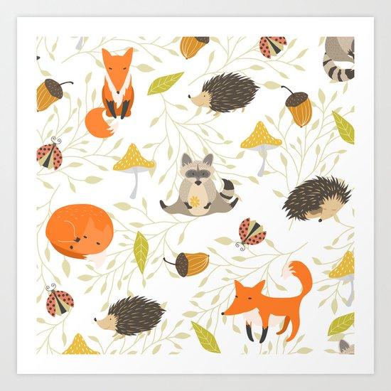 Cute animals Art Print