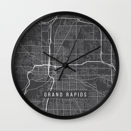 Grand Rapids Map, USA - Gray Wall Clock