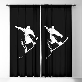 Snowboarding White Abstract Snow Boarder On Black Blackout Curtain