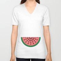 watermelon V-neck T-shirts featuring Watermelon by Karolis Butenas