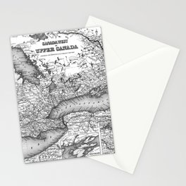 Vintage Map of Ontario (1857) BW Stationery Cards