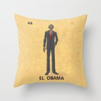 "obama Throw Pillows featuring EL OBAMA by ""dfrnt"""