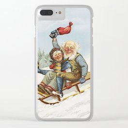 Vintage Christmas : Older Couple Wintry Fun 1890 Clear iPhone Case