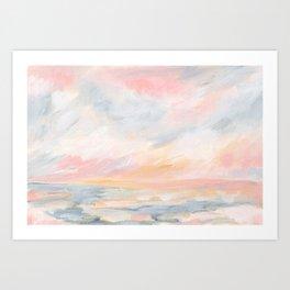 Winter Seascape - Pink Skies Art Print