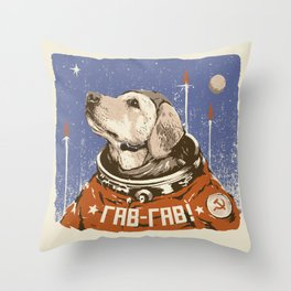 Soviet Space Dog Throw Pillow