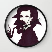 conan Wall Clocks featuring Sir Arthur Conan Doyle by VivienKunde