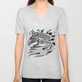 black horse unicorn ecopop Unisex V-Neck