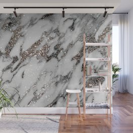 Classic White Marble Silver Glitter Glam #1 (Faux Glitter) #marble #decor #art #society6 Wall Mural