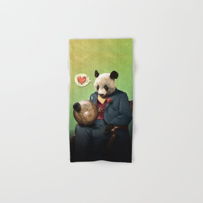 Wise Panda: Love Makes the World Go Around! Hand & Bath Towel