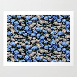 Blue Mums Design — L Diane Johnson Art Print