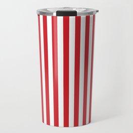 Vertical stripes - red and white Travel Mug