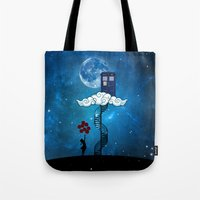banksy Tote Bags featuring Tardis Stair banksy ballons Girl by neutrone