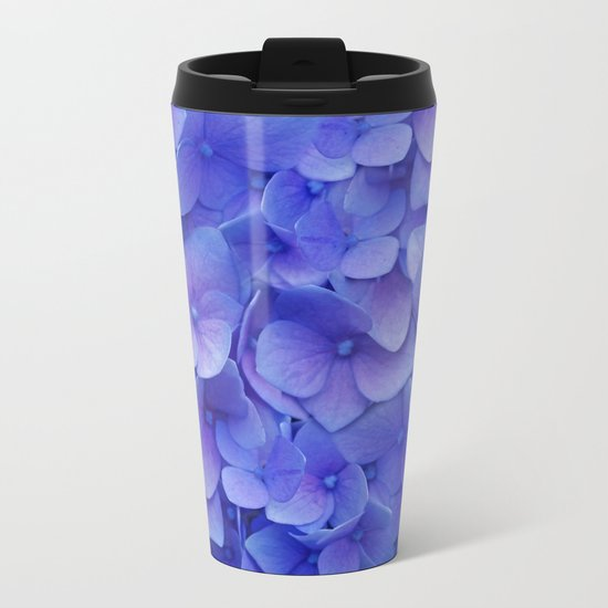 Hydrangea blue Metal Travel Mug